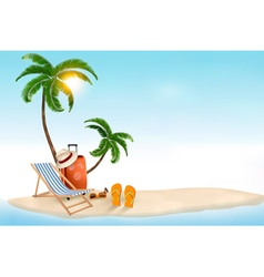 Travel background with beach chair and palms vector