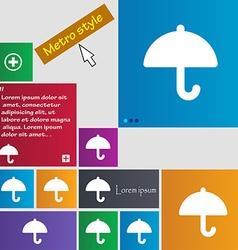 Umbrella icon sign metro style buttons modern vector
