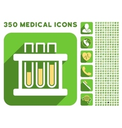 Test tubes icon and medical longshadow icon set vector