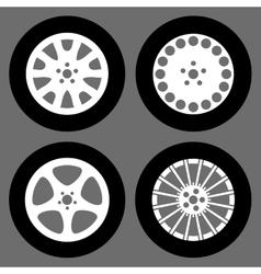 Set of different rims isolated vector