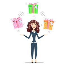abstract businesswoman holding gift box with bow vector image