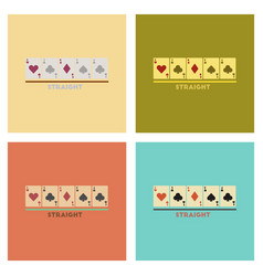 Assembly flat icons poker cards straight vector