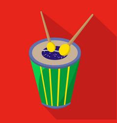 Brazilian drum cartoon flat icon brazil vector