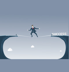 Businessman walk over cliff gap mountain to vector