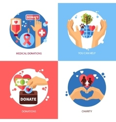 Charity Design Concept Icons Set vector image vector image