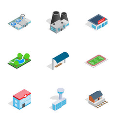 cityscape icons isometric 3d style vector image vector image