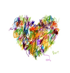 Colorful heart shape pencil drawing for your vector image vector image