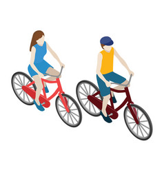 female and male cyclists riding on a bicycle flat vector image