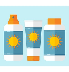 Flat bottles of sunscreen with sun motif vector