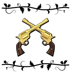 Gold Crossed Guns vector image