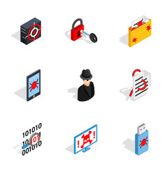 Hacker icons isometric 3d style vector