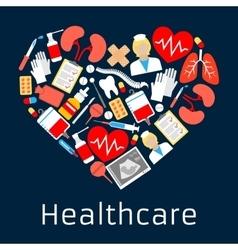 Heart shape emblem with medicine symbols vector