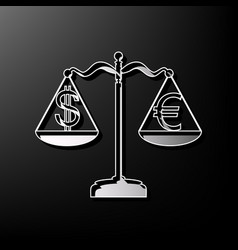 Justice scales with currency exchange sign vector
