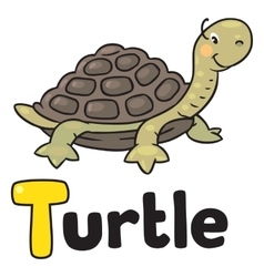Little funny turtle for ABC Alphabet T vector image