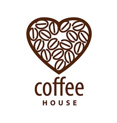 Logo coffee beans in the shape of heart vector