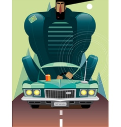 Man in retro car on the road vector image vector image
