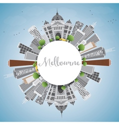Melbourne Skyline with Gray Buildings vector image