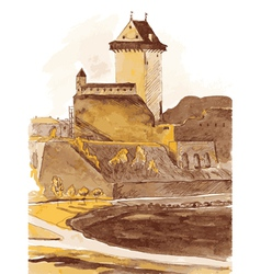 Old fortress in the city of Narva Estonia vector image