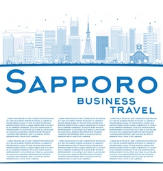 Outline sapporo skyline with blue buildings vector