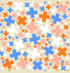 seamless retro geometric pattern with pluses vector image vector image