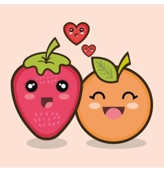 set cartoon fruits design vector image