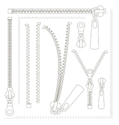 Set of different zippers vector