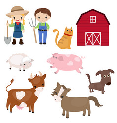 set of farm animals set of farm animals vector image