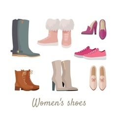Set of Woman s Shoes in Flat Design vector image