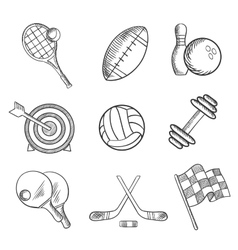 Sport icons and items in sketch style vector