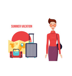 stylish young woman with packed travel bags ready vector image