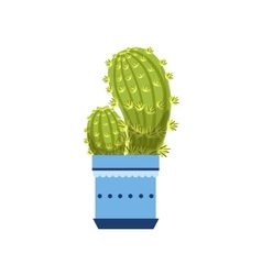 Two Cacti In Blue Pot vector image vector image