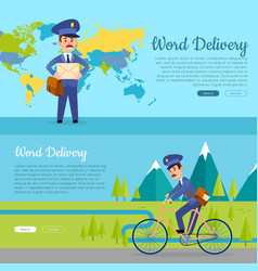 World delivery set of two pictures with postmen vector