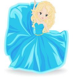 Blonde girl in blue evening dress vector
