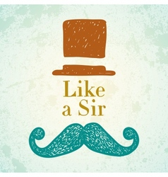 Hat and mustache vector
