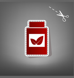supplements container sign  red icon with vector image