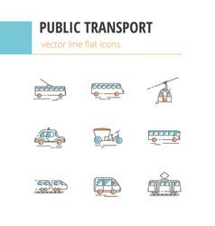 public city transport flat color linear vector image
