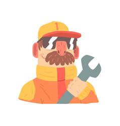 Pit stop technician worker in an orange uniform vector