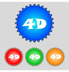 4d sign icon 4d-new technology symbol set of vector