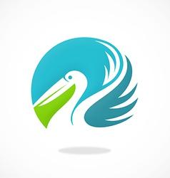 Bird pelican beach logo vector