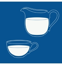 Pitcher and cup filled with milk vector