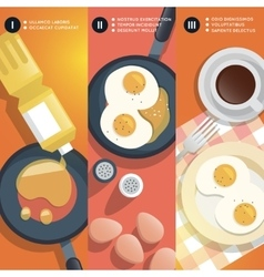 Frying scrambled eggs cooking instruction vector
