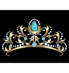 Tiara with diamonds and aquamarines vector