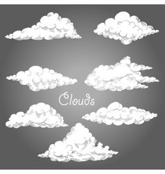 Background with clouds sketches vector