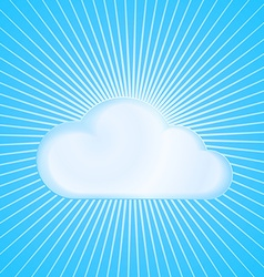 Cloud on blue background with radiating from the vector