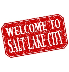 Welcome to salt lake city red square grunge stamp vector