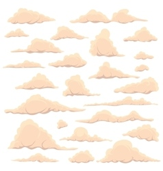 Cartoon light clouds on a white sky background vector