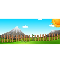 Scene with mountains and fields vector