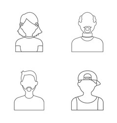 A boy in a cap a girl with pockets a bald man a vector
