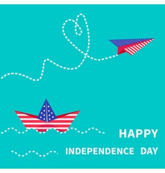Boat and paperplane happy independence day vector