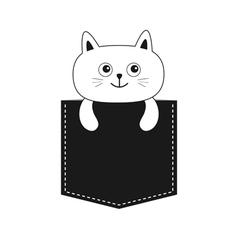 Cat in the pocket cute cartoon kitten contour vector